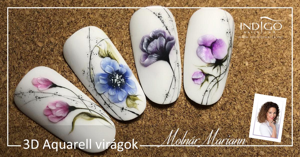 3D akvarell virágok